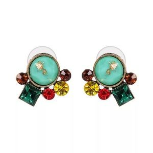 Rhinestone Stud Earrings - Green